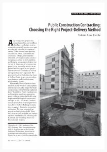 Public Construction Contracting Choosing the Right Project-Delivery Method